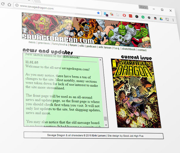 Screenshot of the Savagedragon.com redesign from 12 years ago