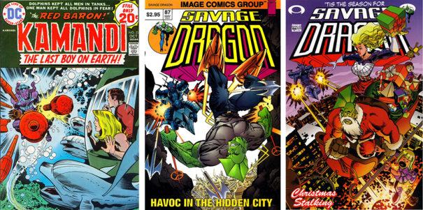 Covers of Kamandi #22 and Savage Dragon #87 #106